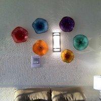 Multicolor Lamp Nordic Рука вручить Стекло Пластины Настенные Итаки Итальянский Дизайн Роскошный Мурано Цветок Настенный Свет для Украшения дома Диаметр 30 см