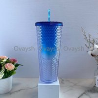 2021 Starbucks Double Gradient Blue Durian Laser Straw Cup 710ML Tumblers Mermaid Plastic Cold Water Coffee Cups Gift Mug