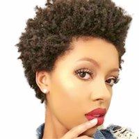 Brazilian Short none lace front Wig Afro Kinky Curly Full Machine Human Hair Wigs For Balck Women