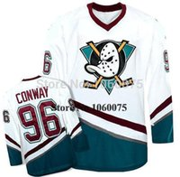Mens Womens Gençlik Güzellik Green 96 Charlie Conway Jersey Mighty Ducks Movie Jersey oyunu Aşınmış 1993-94 Away Hokey Özel Dikişli Ad Numarası