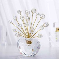 HD Pequeño cristal Bonsai Fortune Dinero Árbol Estatuilla con abalorios AB Ventana SunCatcher Showpiece para buena suerte, Prosperidad de la riqueza 210903