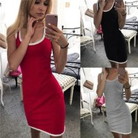 Color Clothing Womens Waist Pack Hip Dress Sleeveless U Neck Slim Sports Style Dress Famale Summer Solid