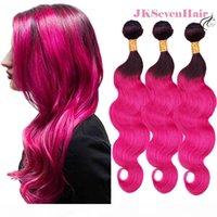 1B 로즈 핑크 옴브 바디 웨이브 브라질 버진 인간의 머리카락 3 번들 다크 뿌리 장미 핑크 말레이시아 페루 인도 레미 헤어 씨