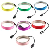 Jiguoor 1M 4 Modes Electroluminescent Tape EL Wire Glowing LED Rope Flat Strip Light With Battery Box 3V Strips