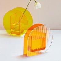 Acrylic Flower Vase Make-Up Brush Pen Holder Hydroponic El For Home Office Wedding Decor Vases