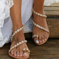 Sandals 2021 Flat Vintage Women Crystal Fashion Shoes Lightweight Non-slip Sabot Women's Summer Designer