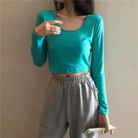 Long Sleeve T-shirts Women Solid Short Sexy Tees Womens Slim Exercise Chic Ins Tops Joggers Skinny Fashion Casual All-match Women's T-Shirt