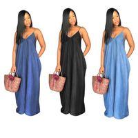 Sexy Beach Denim Maxi длинные платья женщин V шеи без бретелек без решенного свободно свободных сплошной одежды плюс размер до пола Vestidos