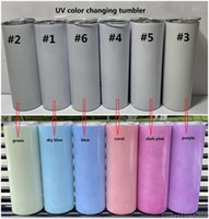 sublimation UV color changing tumbler glow in the sun straight tumblers Stainless Steel cup double wall with lids and straw