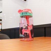 2021 Детская Кубок для воды Кубок Кружки Детская бутылка Детский сад Утра Кубок Животных Принт Портативные Ученики Пластиковая Солома Оптовая продажа GGA4599