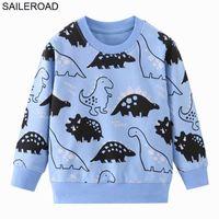 Fashionable designer children's clothing SAILEROAD Pullover Tee Spring Autumn Kids Dinosaur Sweatshirt Tops Long Sleeve T-Shirt Boys Girls