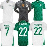 팬 플레이어 버전 Algerie 2021 홈 멀리 축구 유니폼 Mahrez Feghouli Bennacer Atal 20 21 알제리 축구 키트 셔츠 남성 + 아이들이 마일 로트 드 발을 설정합니다