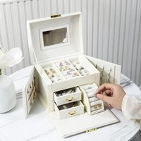 Jewelry Pouches, Bags Large Box Organizer PU Leather Drawer Jewellery Boxes Velvet Earring Ring Necklace Storage Case Casket