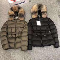 Mujeres nylon chaqueta corta con cremallera cierre de cierre cinturón grueso abrigo cálido clásico diseñador mujer piel de piel invierno suelta Outwear