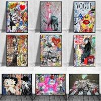 Pinturas tamanho grande banksy arte canvas pintura cartaz e impressão engraçada macaco graffiti street retrato de parede para decoração moderna