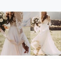 Bohemian Country Chiffon Jewel A-Line Wedding Dresses Sheer Long Sleeves Lace Appliques Boho Bridal Gowns Cheap Plus Size Custom Made