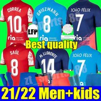 21 22 Atletico Madrid Soccer Jerseys Suarez João Félix 2021 2022 M. Llorente Correa Koke Camisetas 멀리 홈 멀리 세 번째 Carrasco 성인 남성 여성 키트 청소년 축구 셔츠