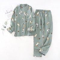 Женские пижамы женские женские пижамы набор 100% марлевой хлопчатобумажный леопард мультфильм для собак Pajamas женщины 2 шт.