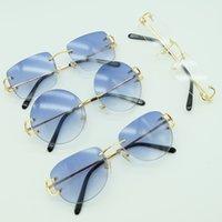 Óculos de sol de metal sem aro quadrado grande óculos de sol de luxo mens marca de sunglass deserte máscara para homens