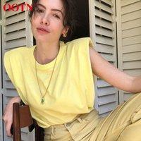 OOTN Летние без рукавов топ женские о шеи белые женские блузки рубашки женские жимы свободно твердые шикарные повседневные блузки черный 2021 хлопок коричневый