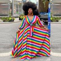 PLUS Taille Robes ZJFZML ZZ Femmes Vêtements Vêtements Robe Rainbow Établissement à rayures à manches longues à manches longues en V-Col V et flare chute en gros