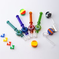 CSYC NC083 Hookah Kit Small Glass filter Pipe With 10mm Gr2 Titanium Nail Quartz Tips portable Dab Rigs Water Bong For Smoking