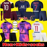 الرجال الاطفال Maillots دي لكرة القدم عدة 20 21 PSG كرة القدم بالقميص 2020 2021 باريس MBAPPE الثالث البلوزات قميص ICARDI VERRATTI كرة القدم