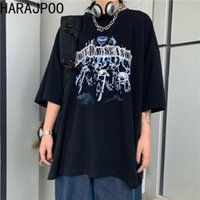 Kadın T-Shirt 2021 Yaz Kore Harajuku Koyu Retro Mektup Baskı Kişilik Gevşek Kısa Kollu Çift Üst Gelgit kadın T-shirt