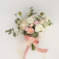 Wedding Flowers Cream Pink Artificial White Roses Bridal Bouquets Champagne Poney Ramo Para Dama