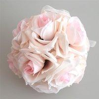 15x21 cm El Yapımı Yapay Gül Çiçekler Öpüşme Asılı Topu DIY Buket Ev Düğün Dekoru FBS889 Dekoratif Çelenkler