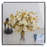 14heads 1 bundle rose di seta rose sposa bouquet fiori artificiali per sposa damigella d'onore domestica tavolo decorazione piante finte piante decorative wrea