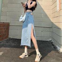 Skirts Hem Single Slits Zipper High Waist Side Slit Denim Skirt Female Summer 2021 Thin A-line Girl Bag Hip Long Ins Tide