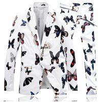 Men's Suits & Blazers White Jacket Men + Pants Asia Size S-4XL Black Mens Blazer Pant Fall 2021 Two Piece Set