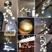 Lampade a sospensione moderna LED Lampadario di cristallo Lampadario Illuminazione Grande luci appese Orb Cristal per soggiorno Sala da pranzo Scala El Decorazione