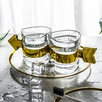 Love Heart Shaped Transparent Glass 3pcs set Bathroom Accessories Set Golden Storage Tray Wash Cup Kit Gradient Glasses Tooth Cy Bath Access