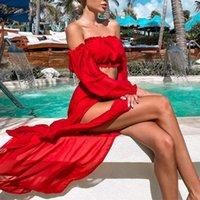 Bikini Beach Cover Up Swimsuit Two Piece Dress Swimwear Women Summer Ladies Bathing Suit Solid Wear Tunic Women's