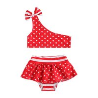 One-Pieces CitgeeSummer Infant Girls Polka Dot Swimsuit Set Bow One-Shoulder Sleeveless Top And Skirt Swim Shorts Clothes
