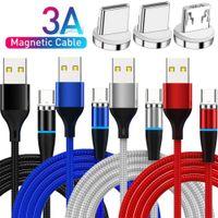 Hızlı Şarj 3A Tipi C Mikro Örgülü Naylon Manyetik USB Kablosu 1 M 3ft Samsung S10 S20 S21 Not 21 HTC LG Android Telefon PC