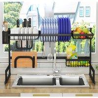 Kitchen Storage & Organization Stainless Steel Dish Rack Nonslip Drying Foldable Shelf On Top Sink Painted