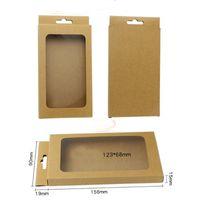 156 * 90 * 15mm tamaño pequeño caja de teléfono móvil caja de embalaje en blanco Caja de papel Kraft con ventana para ropa interior Muestra de calcetín Venta al por menor
