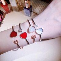 Бренд 100% 925 стерлингового серебра два сердца браслета для женщин ювелирные изделия открытый размер белый красный камень любви манжеты браслеты Bijoux Bangle