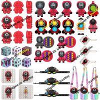 Niños adultos Fidget Toys Toys Squid Game Simple Dimple Keychain Mask Squeeze Push Bubble Sensor Sensor Sensor Relieve Para Autismo Spinner Navidad Descompresión De Discomresión Regalos