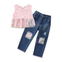 Kids Clothing Sets Girls Outfits Baby Clothes Suit Child Summer Cotton Lace Tops Vest Hole Jeans Trousers Pants Cute 2Pcs 2-6Y B5263