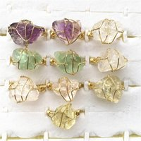 Arame irregular de pedra natural envolto mulheres anéis cura amethysts citrinos roxo cristal fluorite conjunto de dedo de moda redes