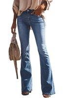 Women's Jeans Women Slim Fit Denim Pants Bell Bottom Straight High Waist Bootleg Stretch Female Flare Trouser Maxi Fashion