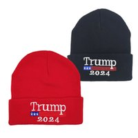 2024 Trump Stickad Woolen Hat Amerikanska kampanjen Mäns och Kvinnors kalla varma hattar