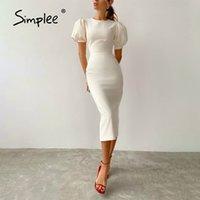 Simplee Beyaz Chic Parti Kalem Elbise Kısa Puf Kol Katı Midi Elbise Bahar Gece Kulübü Bodycon Elbise Zarif Kadınlar 210414
