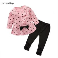 Clothing Sets New Baby Girl Heart-shaped Print Bow Cute 2PCS Kid T shirt + Pants Princess Kids Newborn U075