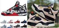 Kids Big Boy Shoes 4 4s Tatuagem Singles Day Homens Raptors Puro Dinheiro Puro Royalty Free Cimento Black Travis Criado Mens Trainer