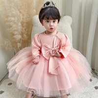Girl's Dresses 2021 Princess Long Sleeve 1st Birthday Dress For Baby Girl Party Wedding Baptism Infant Lace Kids Clothes Vestidos